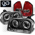 Chrysler 300 2005-2007 Black CCFL Halo Headlights and Red LED Tail Lights