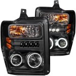 2008 Ford F250 Super Duty Black Projector Headlights with CCFL Halo and LED