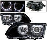 2001 BMW E46 Sedan 3 Series Black Projector Headlights with Halo
