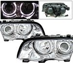 2001 BMW E46 Sedan 3 Series Clear Projector Headlights with Halo
