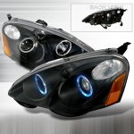 2003 Acura RSX Black Projector Headlights with Halo