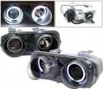 Acura Integra 1994-1997 Black Projector Headlights with Halo