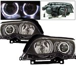 2002 BMW E46 Sedan 3 Series Black Projector Headlights with Halo