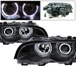 2001 BMW E46 Coupe 3 Series Black Projector Headlights with Halo