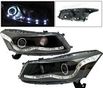 2008 Honda Accord Sedan Black Projector Headlights CCFL Halo LED