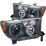 2011 Toyota Tundra Black Projector Headlights with CCFL Halo