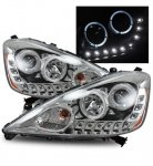 Honda Fit 2009-2010 Projector Headlights Chrome CCFL Halo LED DRL