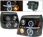 2005 Cadillac Escalade Black Projector Headlights with CCFL Halo and LED