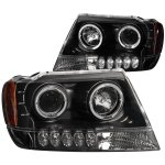 Jeep Grand Cherokee 1999-2004 Black Projector Headlights Halo LED