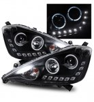 Honda Fit 2009-2010 Projector Headlights Black Halo LED DRL