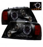 2004 Ford F150 Black Projector Headlights with Halo and LED
