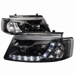 VW Passat 1997-2000 Black Halo Projector Headlights with LED