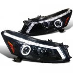 Honda Accord Sedan 2008-2012 Halo Projector Headlights LED DRL Smoked
