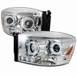 Dodge Ram 2500 2006-2009 Clear Halo Projector Headlights LED
