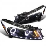 2008 Honda Accord Sedan Black Projector Headlights Halo LED DRL