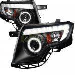 Ford Edge 2007-2010 Black Projector Headlights Halo LED DRL