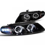 Dodge Avenger 1997-2000 Smoked Projector Headlights Halo LED