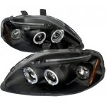 2000 Honda Civic JDM Black Dual Halo Projector Headlights with LED