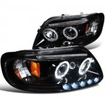 1999 Ford Expedition Smoked Halo Projector Headlights with LED Eyebrow