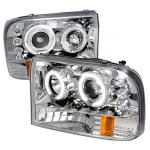 2002 Ford F250 Super Duty Clear CCFL Halo Projector Headlights with LED