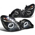 Lexus GS430 2001-2005 Black Projector Headlights Halo LED DRL