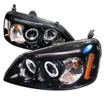 2002 Honda Civic Smoked Halo Projector Headlights with LED