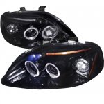 Honda Civic 1999-2000 Smoked Dual Halo Projector Headlights with LED