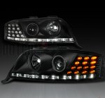 2004 Audi A6 Black Projector Headlights with LED Corner Lights