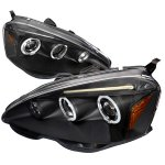 2002 Acura RSX JDM Black Dual Halo Projector Headlights