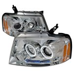2004 Ford F150 Clear Dual Halo Projector Headlights with LED