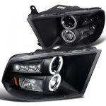2010 Dodge Ram 3500 Black Dual Halo Projector Headlights with LED