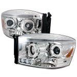Dodge Ram 2006-2008 Clear Halo Projector Headlights with LED