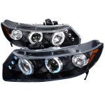 Honda Civic Coupe 2006-2011 JDM Black Dual Halo Projector Headlights with LED