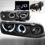 2002 Chevy S10 Black Dual Halo Projector Headlights
