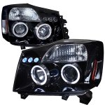 2007 Nissan Titan Smoked Halo Projector Headlights with LED