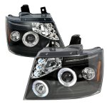 Chevy Avalanche 2007-2013 Black Halo Projector Headlights LED Eyebrow