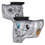 Ford F150 2009-2014 Clear Halo Projector Headlights with LED