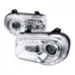 Chrysler 300C 2005-2010 Projector Headlights LED DRL Chrome