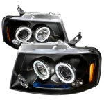 2004 Ford F150 Black Dual Halo Projector Headlights with LED