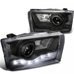 2002 Ford F250 Super Duty Black Projector Headlights LED DRL