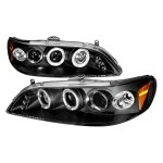 Honda Accord 1998-2002 Black Halo Projector Headlights with LED