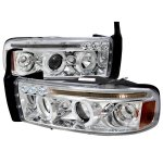 Dodge Ram 3500 1994-2001 Clear LED Eyebrow Projector Headlights with Halo