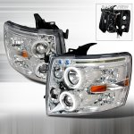2012 Chevy Silverado Clear CCFL Halo Projector Headlights with LED Eyebrow