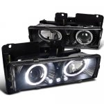 Chevy Suburban 1992-1999 Black Projector Headlights with Halo and LED