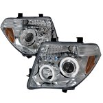 Nissan Frontier 2005-2008 Clear Dual Halo Projector Headlights with LED