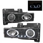 1990 Chevy 3500 Pickup Black Projector Headlights with Halo and LED