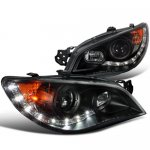 Subaru Impreza 2006-2007 Black Halo Projector Headlights with LED