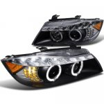 BMW E90 Sedan 3 Series 2006-2008 Black Projector Headlights with LED Signal
