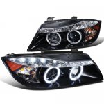 BMW E90 Sedan 3 Series 2006-2008 Smoked Halo Projector Headlights with LED