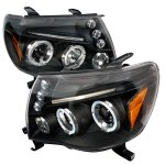 Toyota Tacoma 2005-2011 Black Dual Halo Projector Headlights with LED